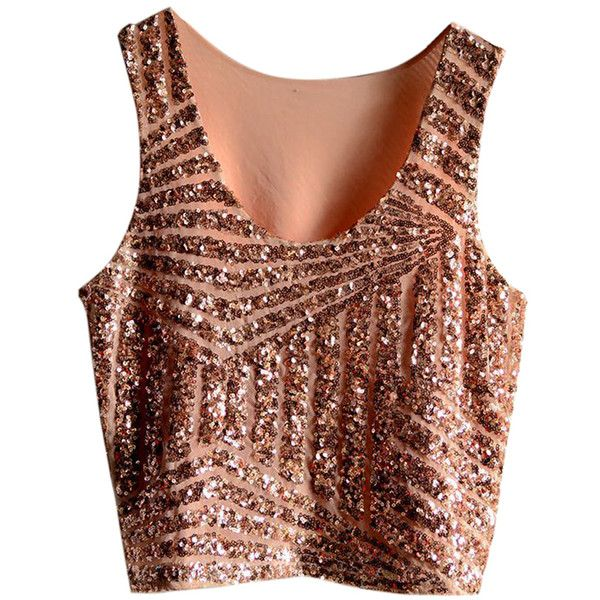Pink Womens Fancy Stripe Sequins Tank Crop Top (£8.50) ❤ liked on Polyvore featuring tops, shirts, camisetas, crop tops, stripe shirt, pink striped shirt, sequin shirt, stripe crop top and brown shirt