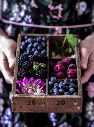 Fresh berries. Purple and blue. Gorgeous food photography and food styling!