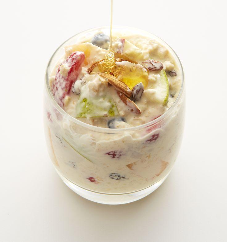 Bircher muesli with your favourite #Jalna yoghurt