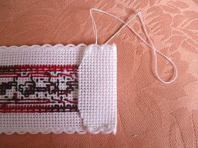 Finishing up a cross stitch bookmark - great tutorial from blogger, Elizabeth, at sew-in-love.blogspot.co.uk
