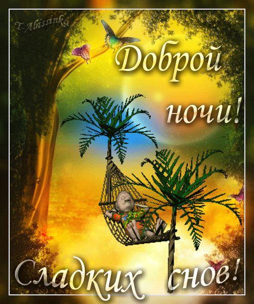 Доброй ночи! Сладких снов! (сон под пальмами в гамаке) - анимационные картинки и gif открытки