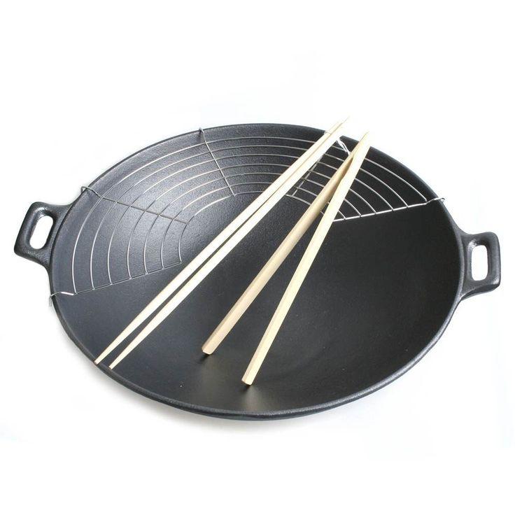 Big BBQ Wokpfanne Wok aus Gusseisen Ø 36 cm Abtropfgitter Deckel Zange Stäbchen: Amazon.de: Küche & Haushalt