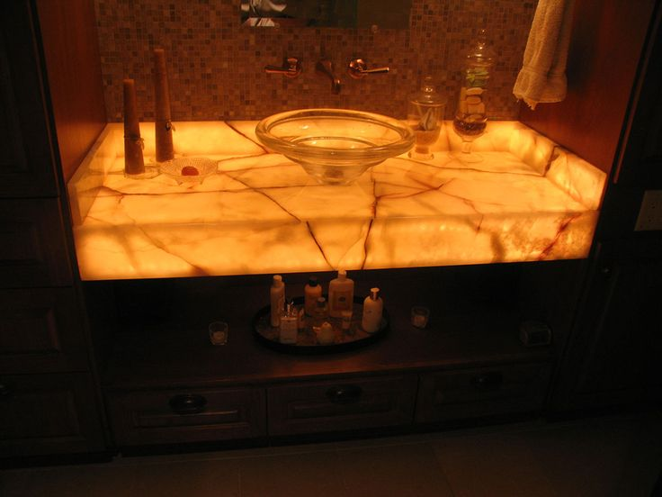 Unique Onyx Bathroom Vanity Tops for Gorgeous Projects : Glass Holder  Beside Round Sink Under Crane And Casual Candles On Onyx Bathroom Vanity  Tops Near ...