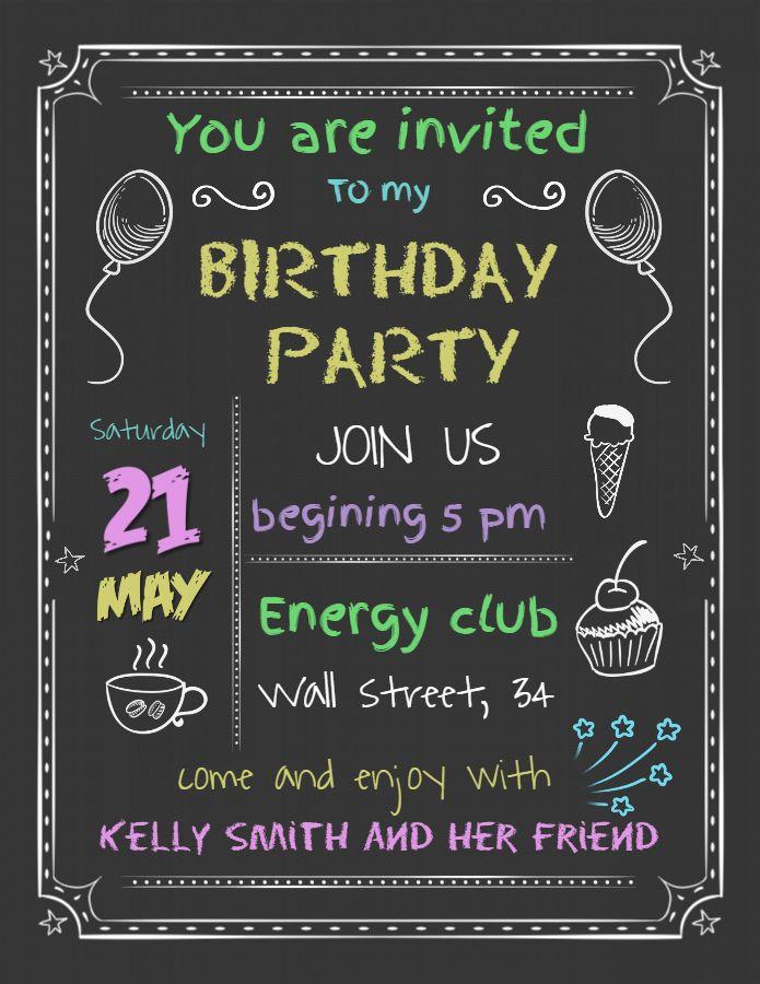 Chalkboard Birthday Party Invitation Poster Flyer Social Media Graphic Design Templat Birthday Invitation Templates Happy Birthday Posters Birthday Invitations