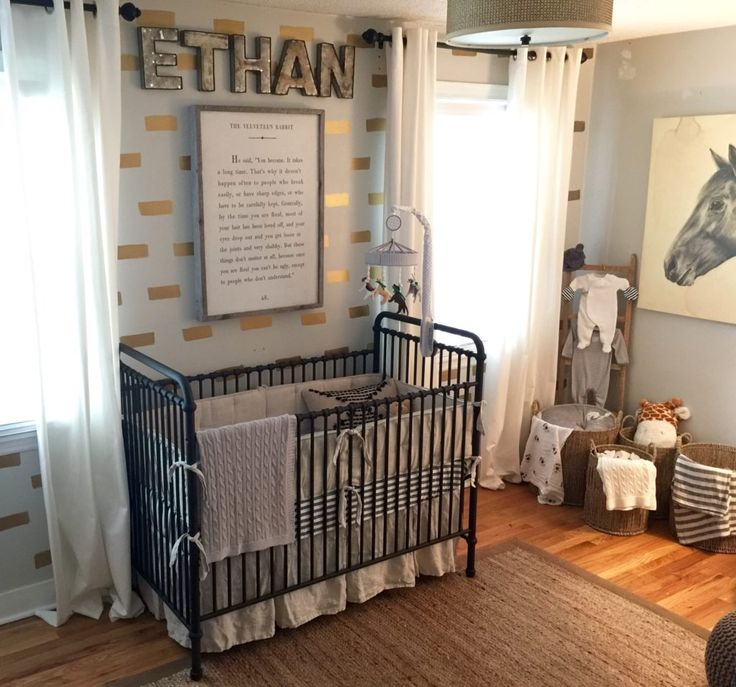 Horse and Hound Nursery with black, white, gold and gray accents. Love the black Jenny Lind crib!