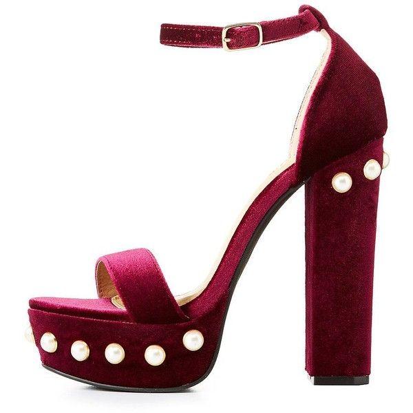6990f6525050 Charlotte Russe Pearl-Trim Velvet Platform Sandals (385 MXN) ❤ liked on  Polyvore