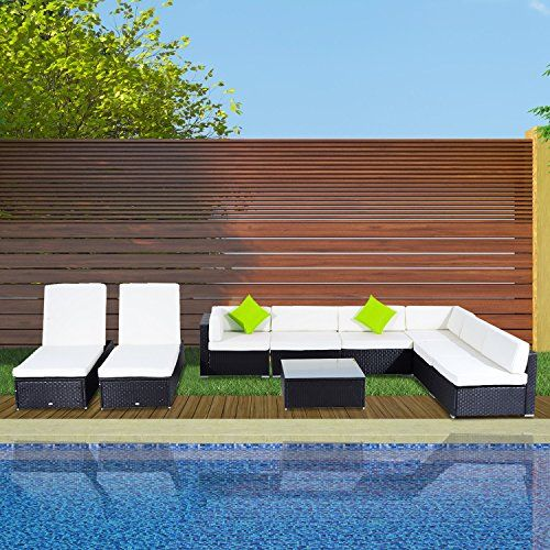 outsunny outdoor garden 9pc rattan sofa set 2 sun loungers lounge chair tea table with cushions - Garden Furniture Loungers