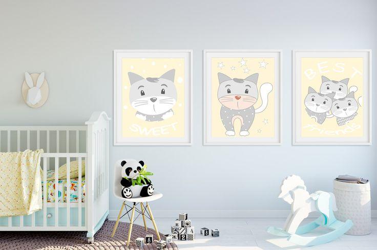 Zestaw: 3 plakaty KOTKI A3  - Dream-zzz - Dekoracje ścienne