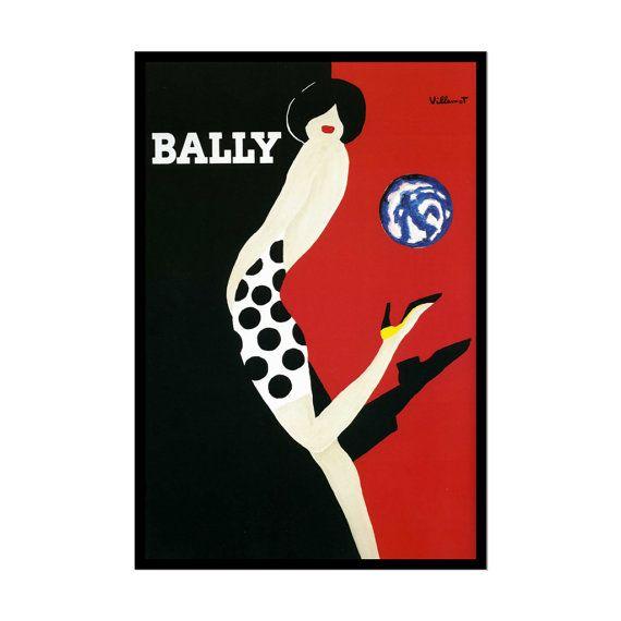 Bally poster by Bernard Villemot V006 by FanArtprint on Etsy