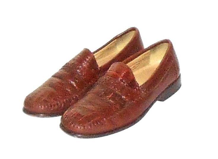 Brass Boot Genuine Cayman Alligator Men's Brown Loafer Slip On Shoe Size 9.5 M #BrassBoot #LoafersSlipOns