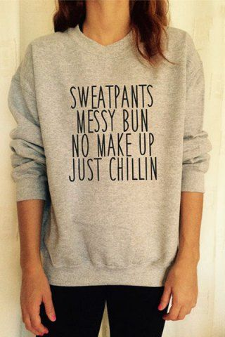 Simple Round Neck Long Sleeve Letter Pattern Women's Sweatshirt Sweatshirts & Hoodies | RoseGal.com Mobile