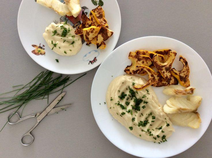Grilovaná treska a patizon na olivovém oleji, kaše z celeru a másla s pažitkou