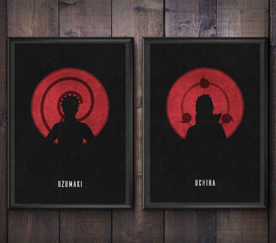 A two piece set based on the main characters from the anime Naruto featuring both family names Uzumaki and Uchiha against a red circular background
