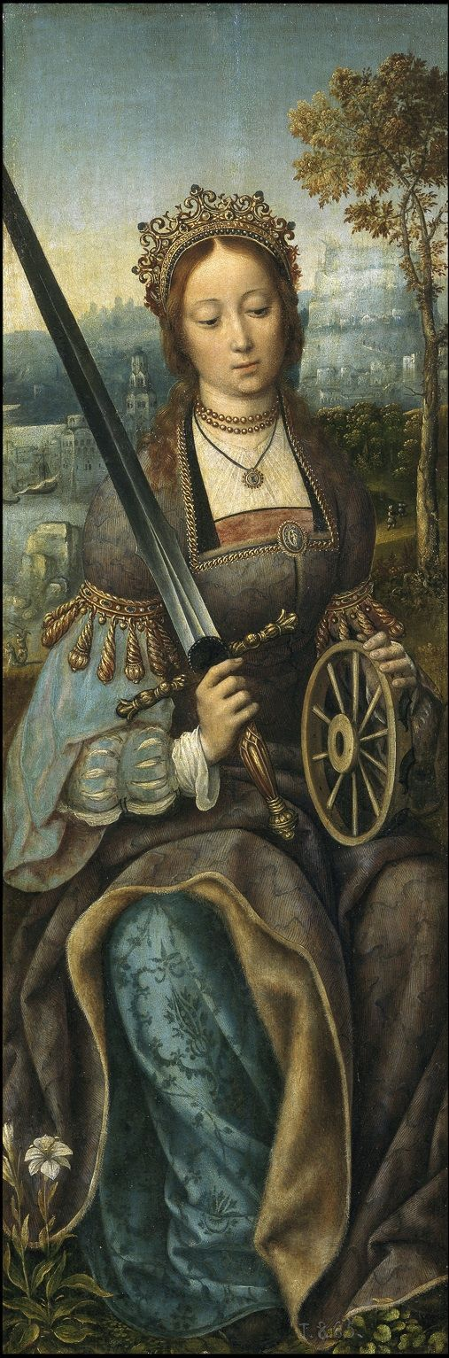 St. Catherine (wings of tryptich), by Master of Frankfurt, 1510-1520.