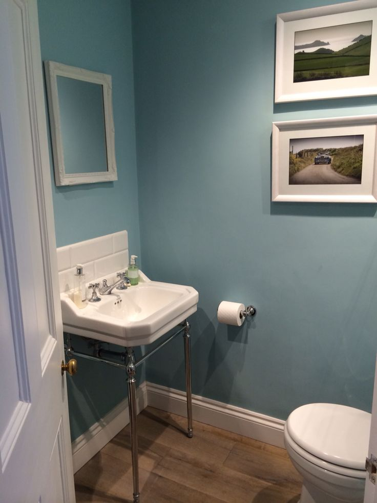 Blue ground farrow and ball in cloakroom