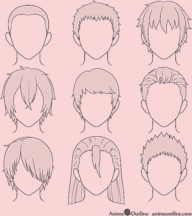 How To Draw Anime Male Hair Step By Step Animeoutline In 2020 Anime Hair Anime Drawings Anime