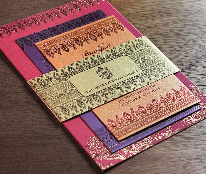 luxury indian paisley and mehendi border on wedding invitation foil printing on colorful paper | Invitations by Ajalon | invitationsbyajalon.com