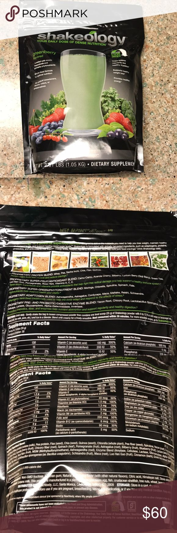 Shakeology Greenberry Sealed bag past exp date Sealed bag of Beachbody Shakeology Greenberry flavor. Powder is green in color. Non vegan, not certified gluten free. please look on Beachbody site for ingredient list details to make sure in case of allergies. This is a full 2.31 pound bulk bag. It makes 30 servings of 1 scoop per/serv. Expired 5/2017, but has been in cool dry pantry and I have taken many myself over a year past expire with no difference. Priced at steal! Paid $120. Beachbody…