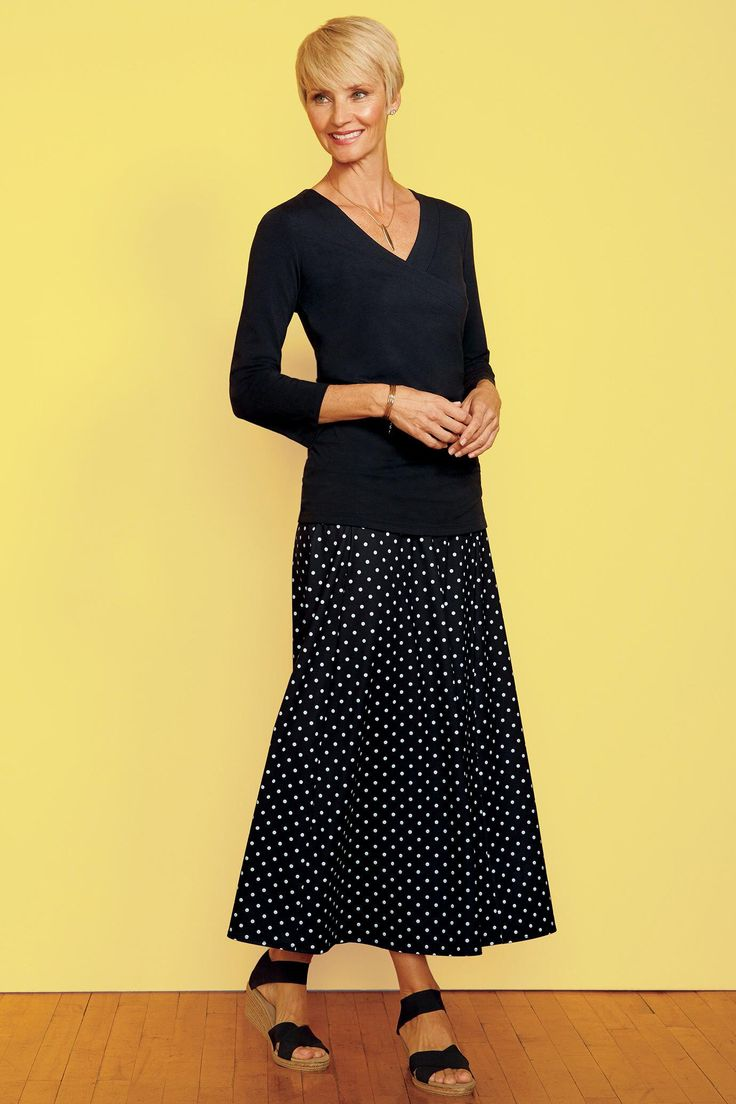 "Indispensable Dot Print Long Travel Skirt | TravelSmith $85 Indispensable Dot Print Long Travel Skirt: Versatile skirt in a fun black and white dot print has a full-elastic waistband with a hidden pocket. Pull-on style sheds wrinkles, wicks moisture and provides UPF50+ sun protection.  Supplex® nylon/Lycra® jersey  Machine wash  Imported  Lengths: (M) 34""; (Plus) 34½"""