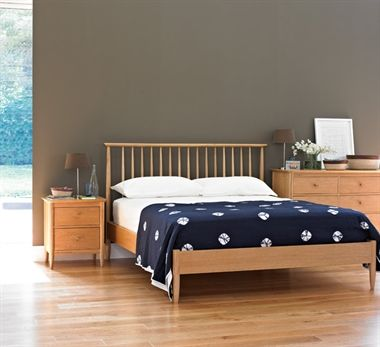 The Teramo offers a relaxed modern bedroom range made of pale oak.  The spindle headboard of the bed has shapes that reflect ercol's design heritage of Windsor chairs.   Deep dovetail jointed drawers provide capacious and practical storage whilst overhanging tops and oval shaped drawer handles create interest and detail, resulting in a bedroom collection that will suit any style of home.
