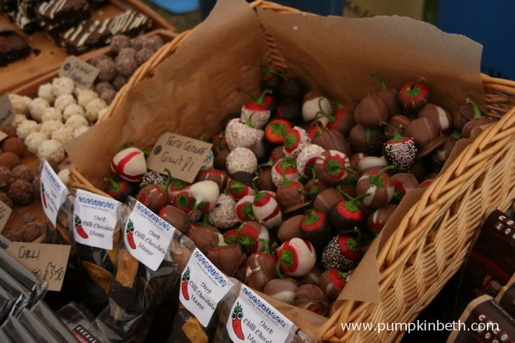 Chocolate covered chillies for sale at the Chilli Fiesta at West Dean Gardens.