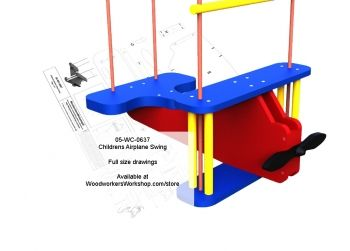 05-WC-0637E - Childrens Airplane Rope Swing Full Size Woodworking Plan #diy #woodcraftpatterns