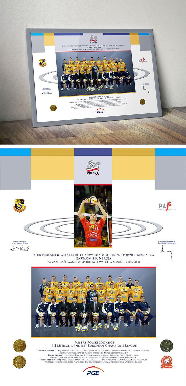 Projekt podziękowań za mistrzowski sezon dla graczy oraz działaczy Klubu Sportowego Skra Bełchatów.