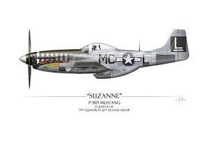Покраска самолетов - Сюзанна Р-51d Мустанг - белом фоне Крейга трут