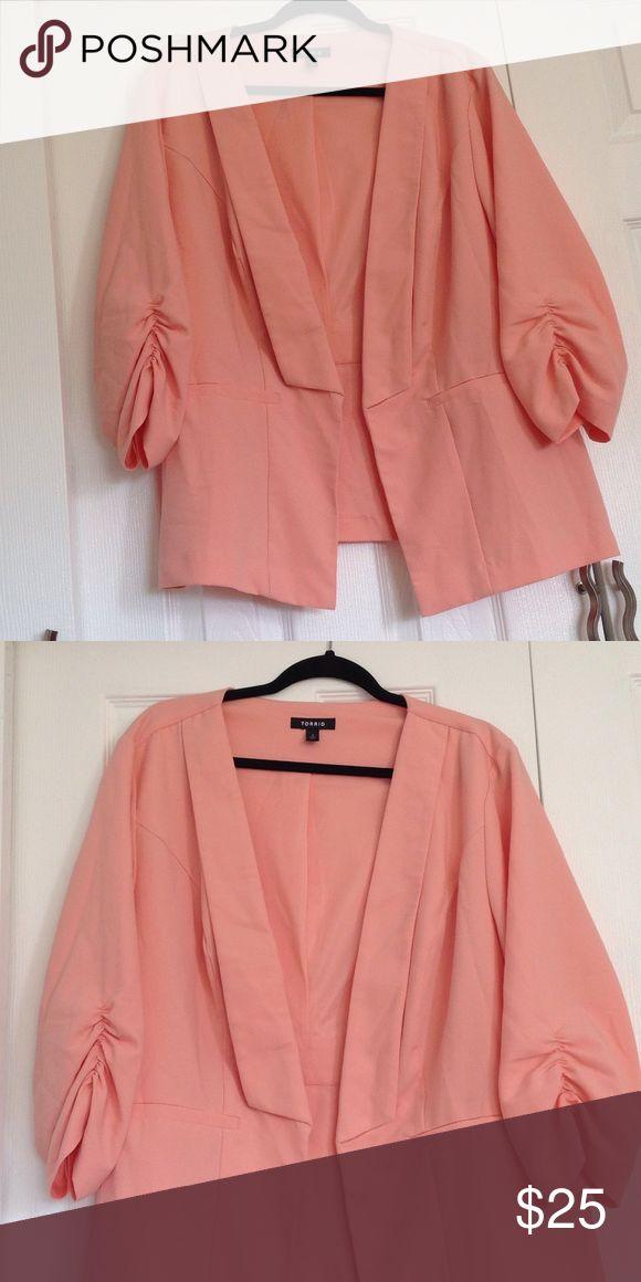 EUC Torrid peach blazer EUC Torrid peach open front blazer. Ruching on sleeves. torrid Jackets & Coats Blazers