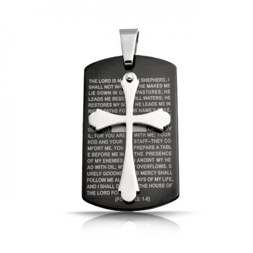 Stainless Steel Cross Lords Prayer Black Dog Tag Pendant