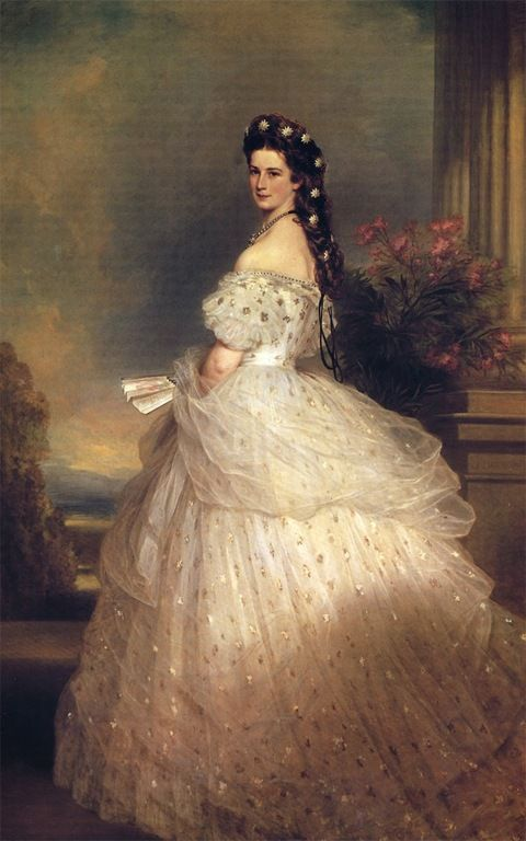 Sissi in her most heavily reproduced portrait by Franz Xaver Winterhalter, wearing the now legendary diamond and pear stars ordered from Koechert  (more at http://madamedepique.wordpress.com/2012/04/01/my-sissi-mania-and-her-own-beauty-obsessions/)