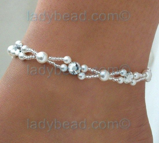 pearls with rhinestones beads | As with all of our anklets there are color options available. Order in ...