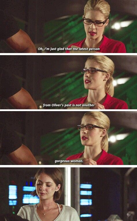 """I'm just glad that the latest person from Oliver's past is not another gorgeous woman"" - Felicity and Thea #Arrow"