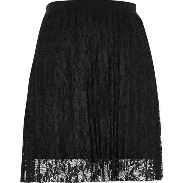 River Island Black pleated lace mini skirt ($56) ❤ liked on Polyvore featuring skirts, mini skirts, black, women, tall skirts, short skirts, pleated skirt, river island and lacy skirt