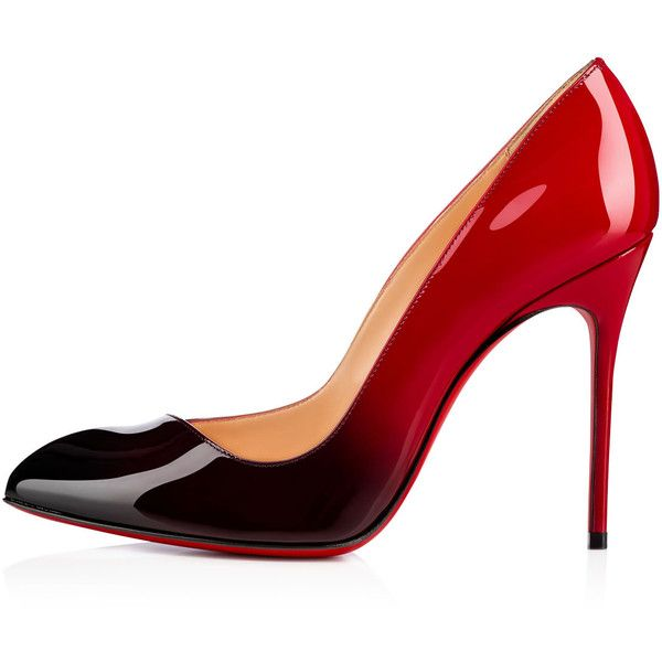 Christian Louboutin Corneille (€585) ❤ liked on Polyvore featuring shoes, pumps, pointy-toe pumps, red patent leather shoes, red shoes, black shoes and black patent pumps