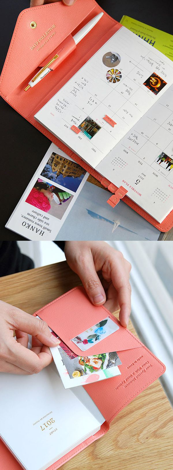 Explore endless possibilities with this gorgeous 2017 Days Collector Diary Wallet! This planner & wallet duo is a travel must-have. It features a beautifully designed dated planner so you can plan all your vacations and adventures throughout the year. The planner is held in a luxurious wallet cover with 3 card slots, 2 pockets, and a pen holder. It's perfect for carrying your boarding pass, tickets, cash, and more. Check out this cute & functional travel accessory!