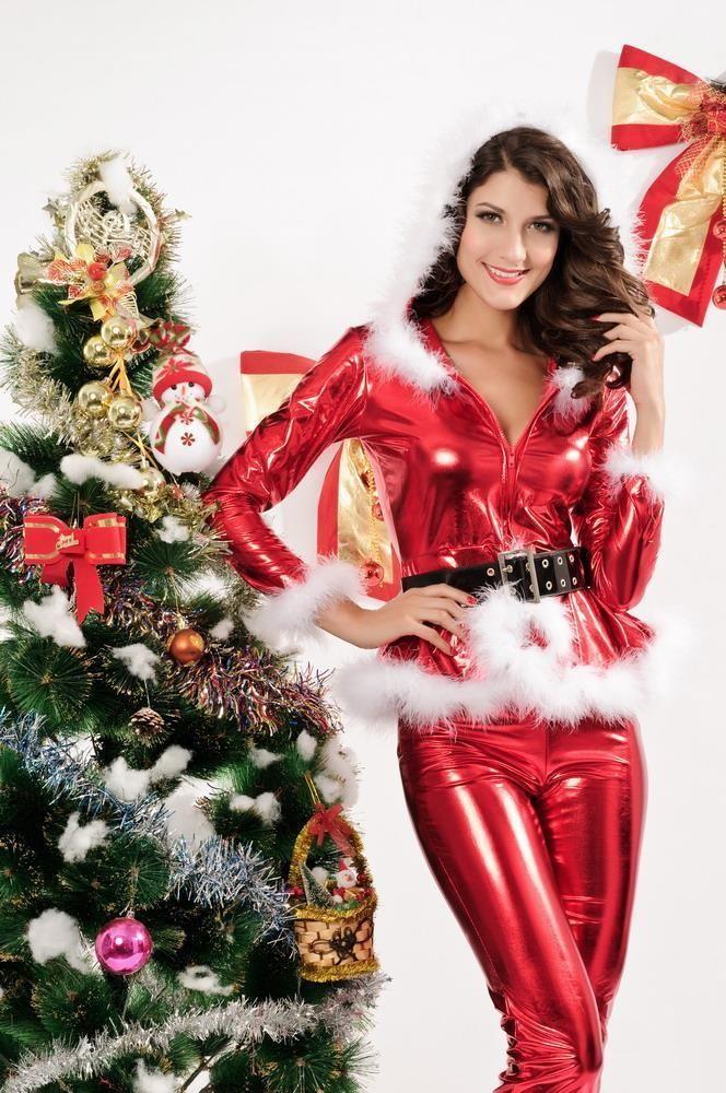 Sexy Christmas Lingerie Red Metallic Vinyl Pants Holiday Set White Trim NWT #NA