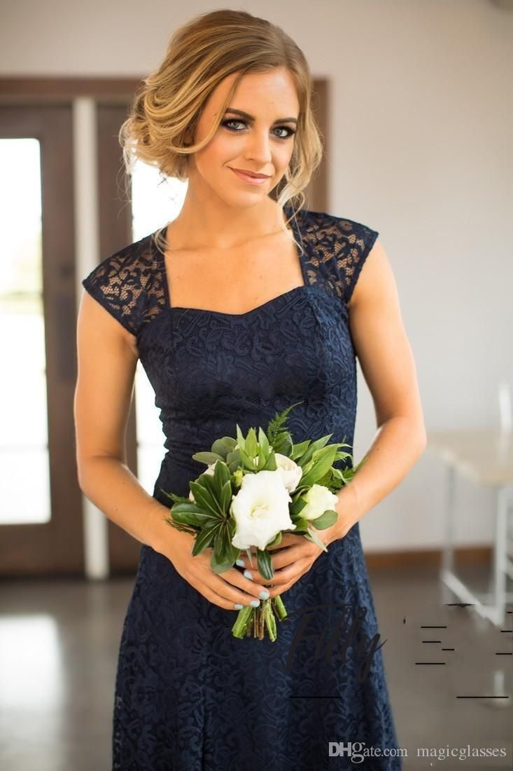 250c63c4691 Country Short Lace Bridesmaid Dresses Sheath Open Back Sweetheart Knee  Length 2017 Navy Blue Wedding Guest Gowns Maid of Honor Party Dress