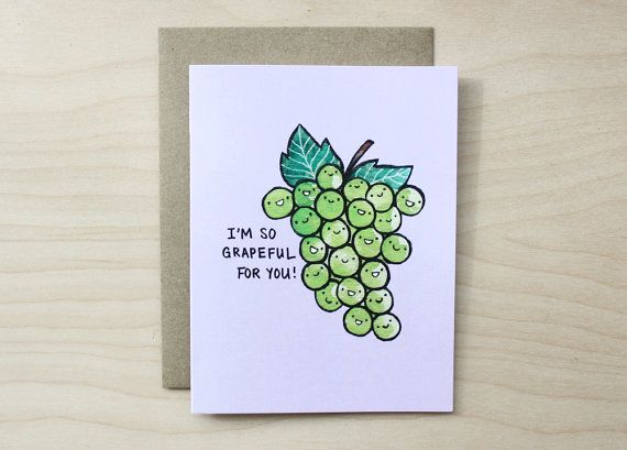 Grapeful for You A2 Greeting Card by artandsoulcreativeco on Etsy