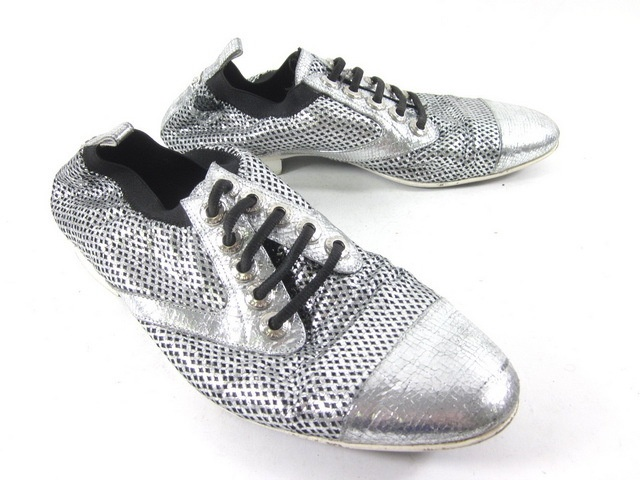 AUTH CHANEL Men's Silver Metallic Sparkle Cap Toe Oxfords Loafers Shoes 42 at www.ShopLindasStuff.com