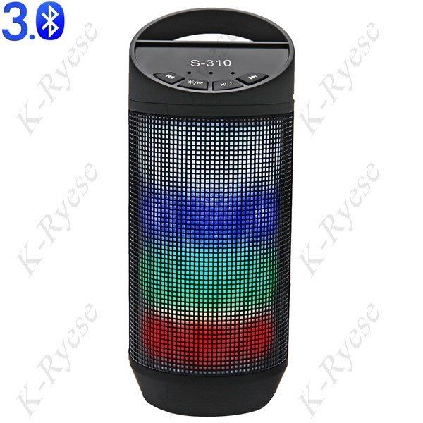S-310 Protable Built-in Light Mini LED Portable Hands-free Bluetooth V3.0 Speaker Support FM/TF Card