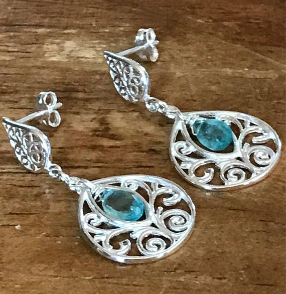Sky Blue Earrings  Faceted Apatite Briolettes & Sterling