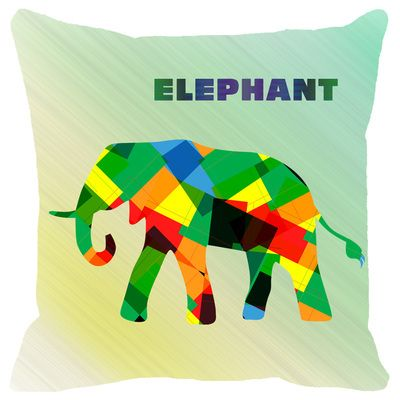 Leaf Designs Multicoloured Geometric Elephant Cushion Cover Cushion Covers on Shimply.com