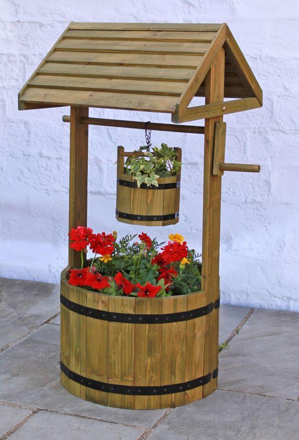 Wooden Decorative Wishing Well Planter - H1m x D45cm