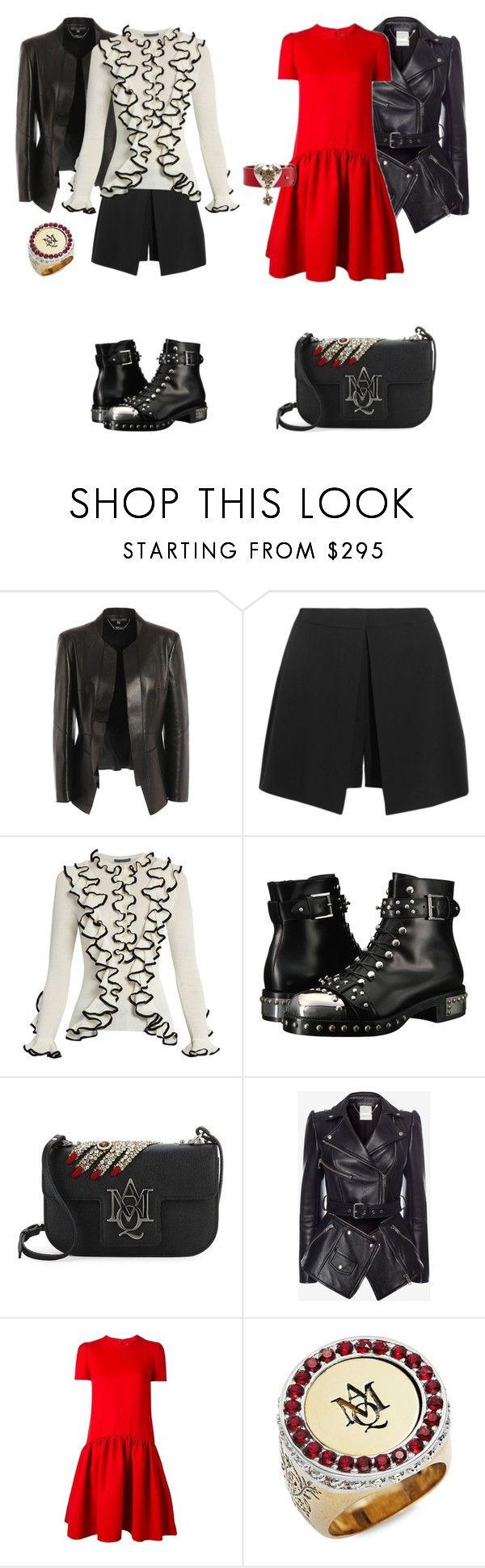 Alexander McQueen - total look by repriza on Polyvore featuring мода and Alexander McQueen. Два лука от Александра Маккуина в стиле рок-шик. Черные кожаные куртки, брутальные ботинки и сумка с цитатой Скиапарелли.