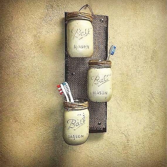 Mason Jar Decor , Pallet Wood , Rustic Cottage Storage , Three Wall Sconce , Rustic Decor , Jar Wall Vase , Bathroom Storage , Country Decor