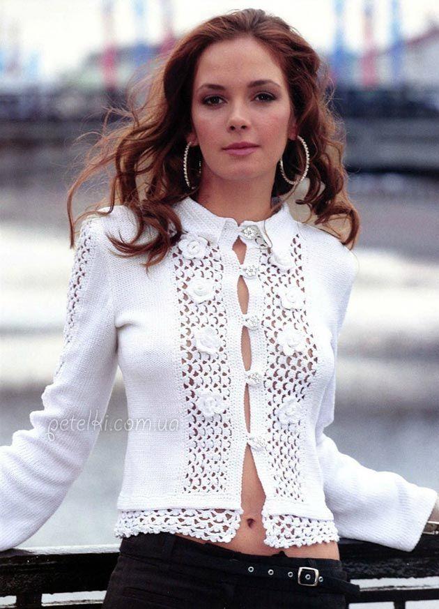 Шикарная нежная блуза. Крючок + спицы. Описание, схемы