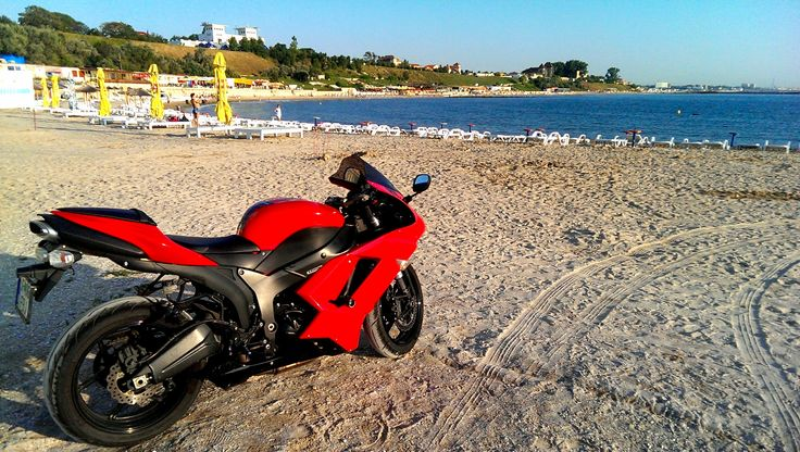 Kawasaki on the beach