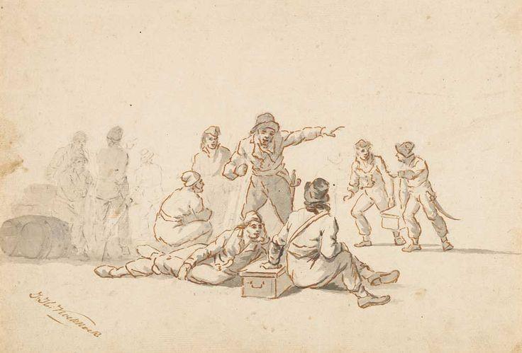 """""""Aanmonstering van scheepsvolk"""",  J.H. Koekkoek (1778-1851), tekening, potlood, pen in bruin, grijs gewassen. Zeeuws Archief, Koninklijk Zeeuwsch Genootschap der Wetenschappen, Zelandia Illustrata III, inv.nr 1010"""