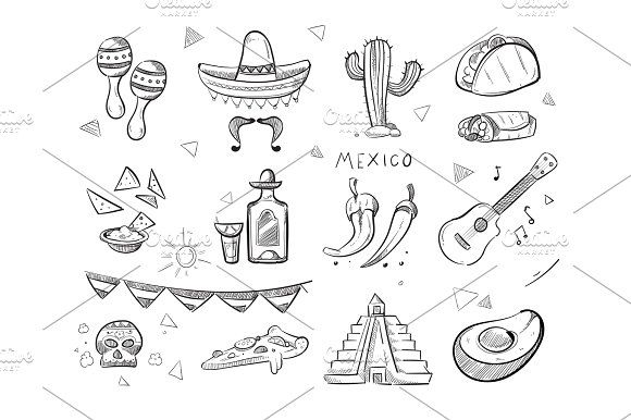 Doodle mexican food, tequila, red hot chili peppers, sombrero, guitar, tacos hand drawn vector icons @creativework247